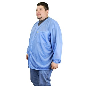 NST-VOJ6XL-SMOCK, NOSTAT, JACKET, SNAPS, BLUE, 6XL  1 POCKET