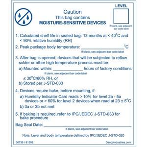 06736-LABEL, MOISTURE BARRIER BAG, IPC/JEDEC J-STD 020, ROLL 100