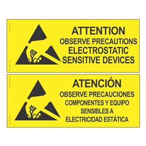 06750-SIGN, ATTENTION, RS-471, ENGLISH-SPANISH, 4'' x 10''