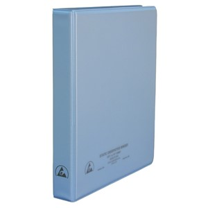 BINDER, 3-RING, DISSIPATIVE, W/CLEAR POCKET, 1''