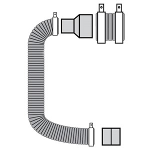 120292EB-CONNECTION KIT, 80MM INLET, 100MM EXHAUST, 1.3M  LENGTH, 82MM & 100M DIA HOSES