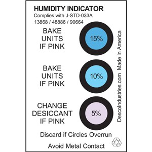 13868-HUMIDITY INDICATOR CARD, 5%  10% 15% RH, J-STD-033D, TYPE 1, 125 EA