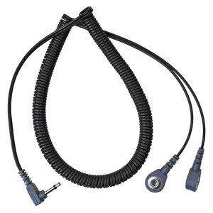 19862-DUAL COIL CORD, 6', 4MM SNAPS, RIGHT ANGLE PLUG