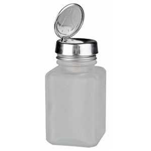 35361-ONE-TOUCH, SS SQUARE GLASS CLEAR FROSTED, 4 OZ