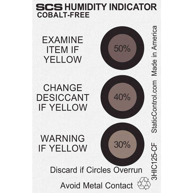 3HIC125-CF-HUMIDITY INDICATOR CARD, COBALT-FREE, 30-40-50%,  125/CAN