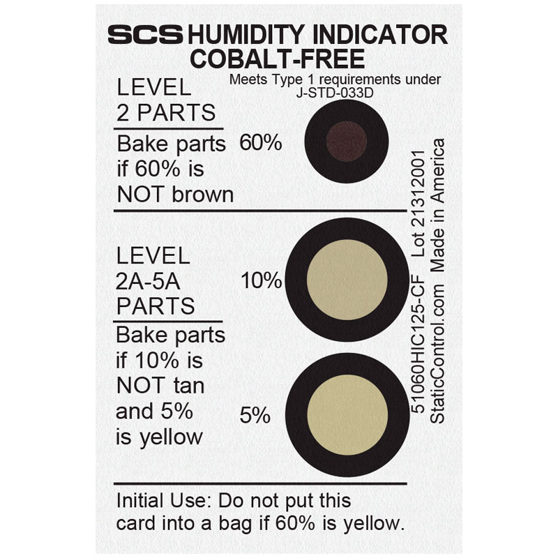 51060HIC125-CF-HUMIDITY INDICATOR CARD, COBALT-FREE, 5-10-60%,  125/CAN