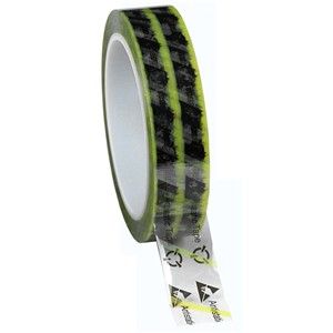 79277-WESCORP ESD TAPE, CLEAR YELLOW STRIPE, 1''x72YDS, 3'' CORE