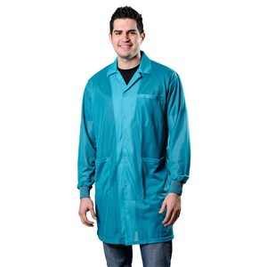 73653-SMOCK, STATSHIELD, LABCOAT, KNITTED CUFFS, TEAL, LARGE