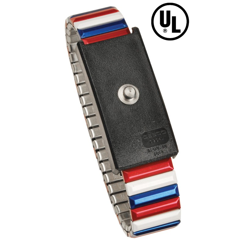 09200-WRISTBAND, PREMIUM METAL EXP ADJ, RED-WHITE-BLUE, 4MM