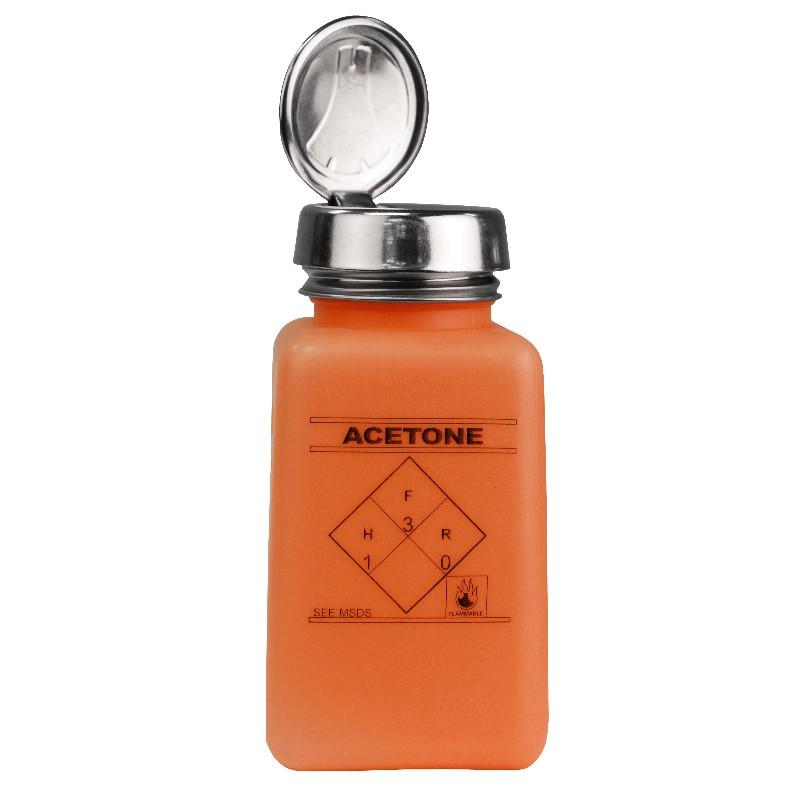 35271-静電気拡散性ボトル、オレンジ色、ワンタッチ、HDPE、180cc、「ACETONE」の印刷