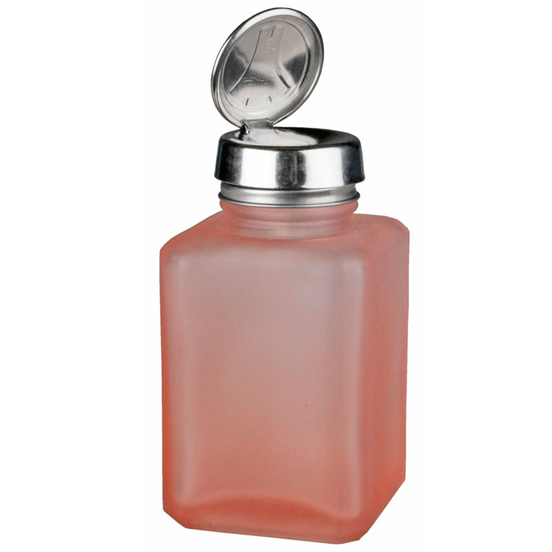 35380-ONE-TOUCH, SS, SQUARE GLASS PINK FROSTED, 4 OZ,