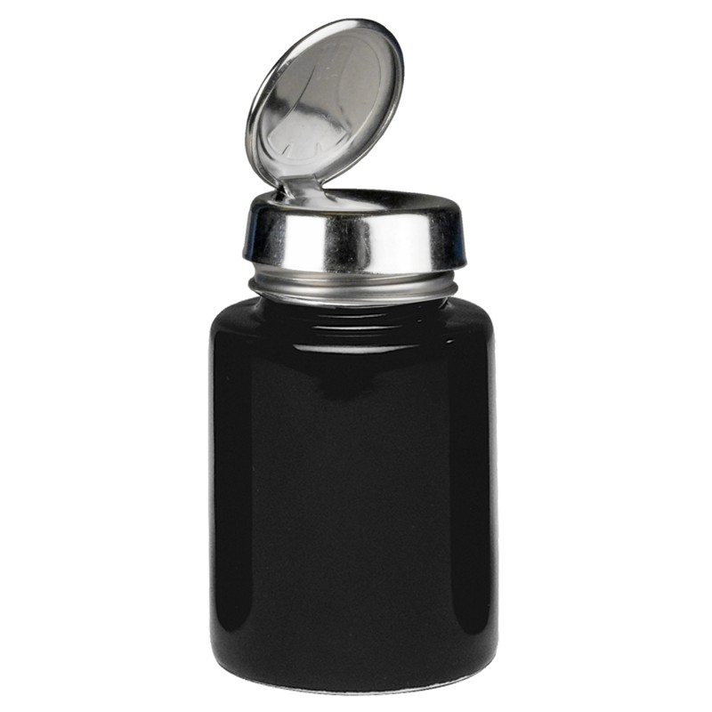 35384-ONE-TOUCH, SS, ROUND 4OZ BLACK GLASS,
