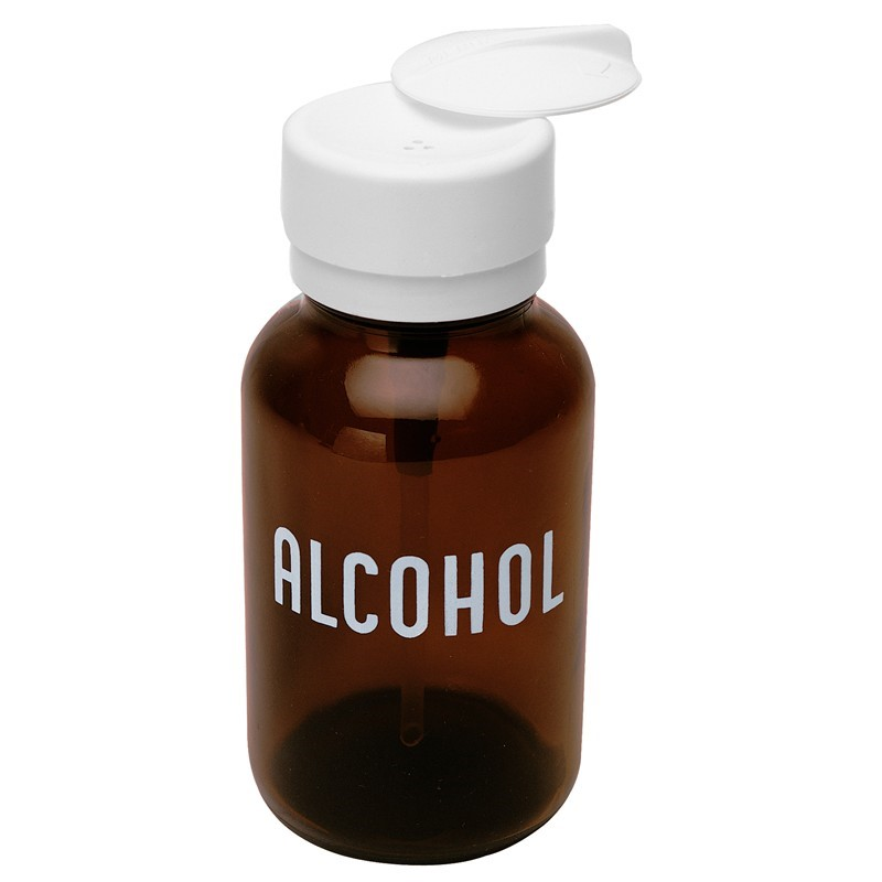 35608-LASTING-TOUCH, AMBER GLASS, 240 ML, IMPRINTED 'ALCOHOL'