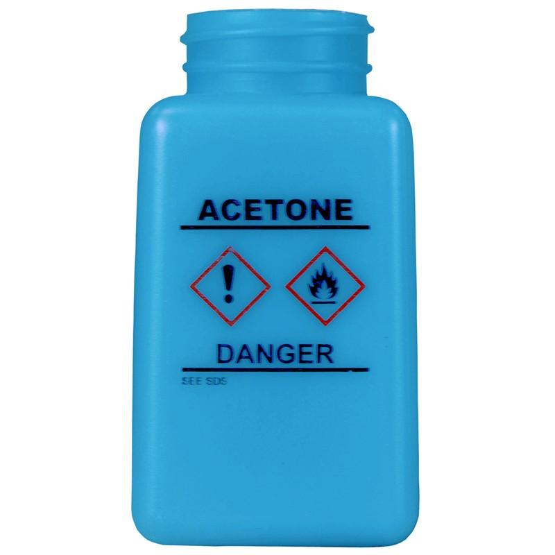 35731-静電気拡散性、ボトルのみ、青色、ボトルのみ、HDPE、GHSマーク、「ACETONE」の印刷、180cc