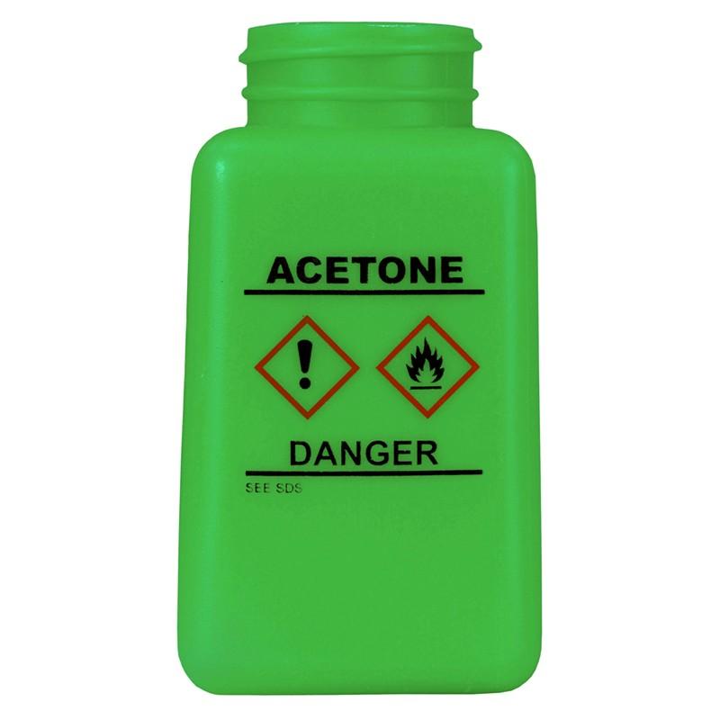35732-静電気拡散性、ボトルのみ、緑色、GHSマーク、「ACETON」の表示、HDPE、180cc