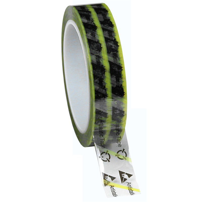 46915-WESCORP ESD TAPE, CLEAR YELLOW STRIPE, 1INx72YD, 3 IN CORE