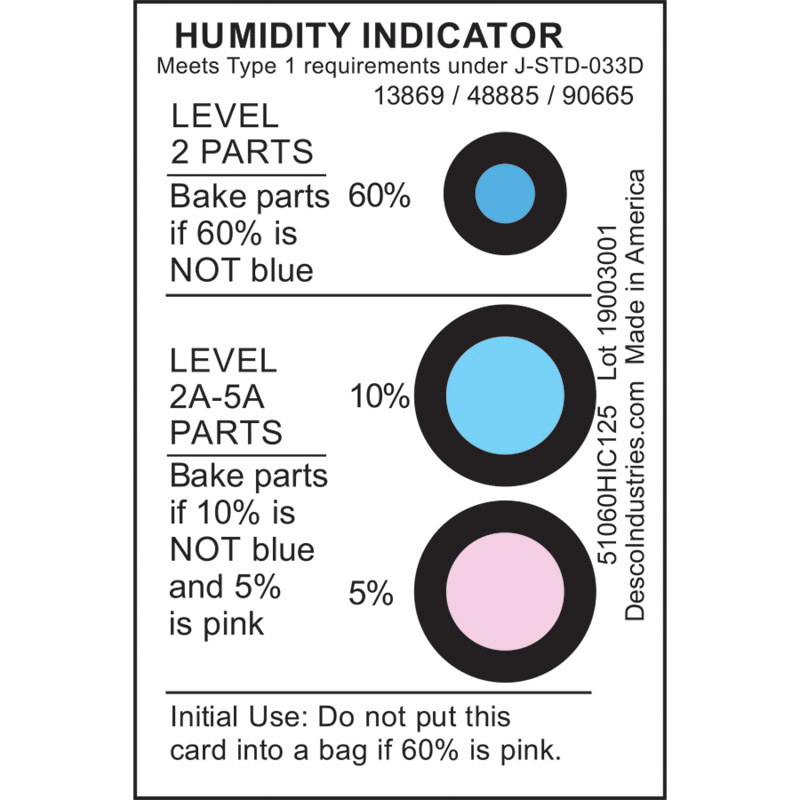 48885-CARD, HUMIDITY INDICATOR, 5% 10% 60% RH, J-STD-033C