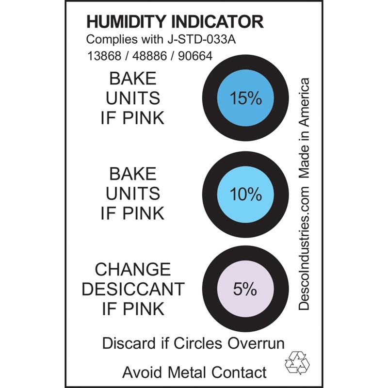 48886-CARD, HUMIDITY INDICATOR, 5% 10% 15% RH, J-STD-033A