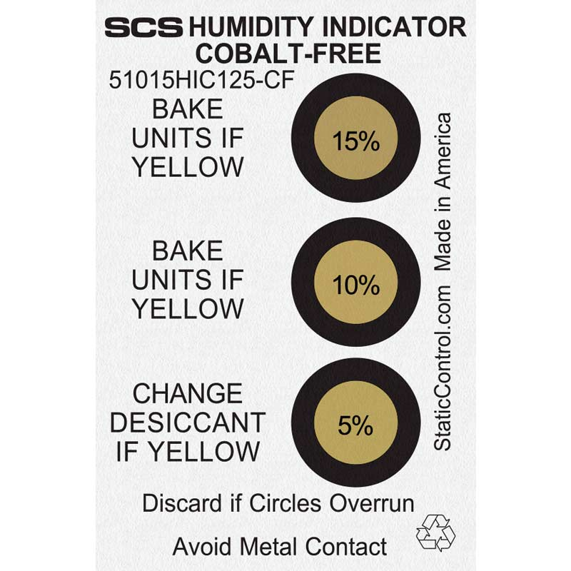 51015HIC125-CF-HUMIDITY INDICATOR CARD, COBALT-FREE, 5-10-15%,  125/CAN