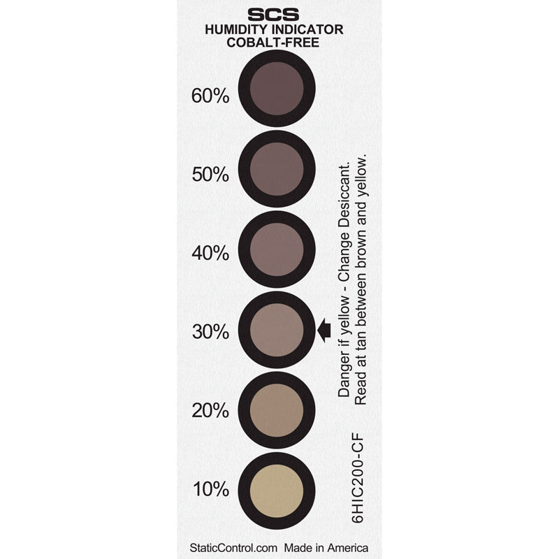 6HIC200-CF-HUMIDITY INDICATOR CARD, COBALT-FREE,  10-20-30-40-50-60%, 200/CAN