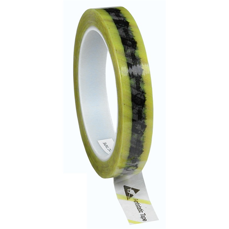 79276-WESCORP ESD TAPE, CLEAR YELLOW STRIPE, 3/4''x72YDS, 3'' CORE