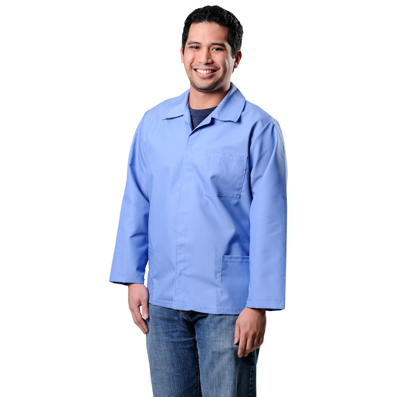 73507-SMOCK, ESD, HEAVY DUTY, COTTON POLY, 1% C,  BLUE, LARGE