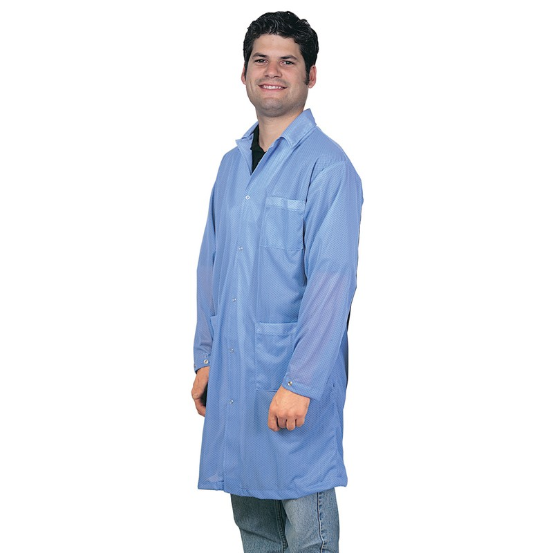 73600-SMOCK, STATSHIELD, LABCOAT, SNAPS, BLUE, X-SMALL