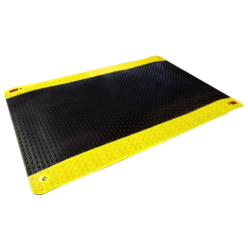770095-ANTI-FATIGUE RUBBER MAT, BLACK/YELLOW,  0.600'' x 3' x 5'