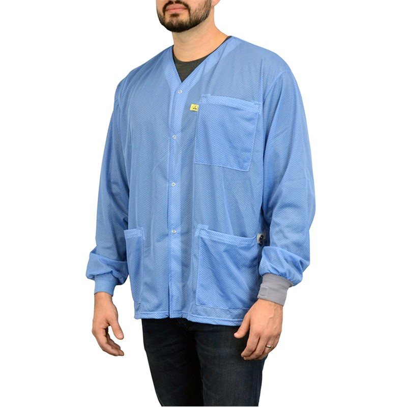 770103-SMOCK, DUAL-WIRE, JACKET, BLUE, L  KNITTED CUFFS, 3 POCKETS, NO COLLAR