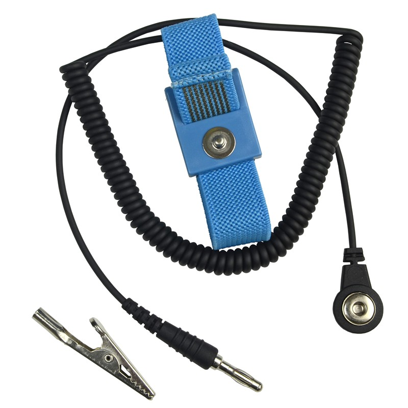 ECWS61M-1-WRIST STRAP, ADJUSTABLE, FABRIC, BLUE, 6' CORD
