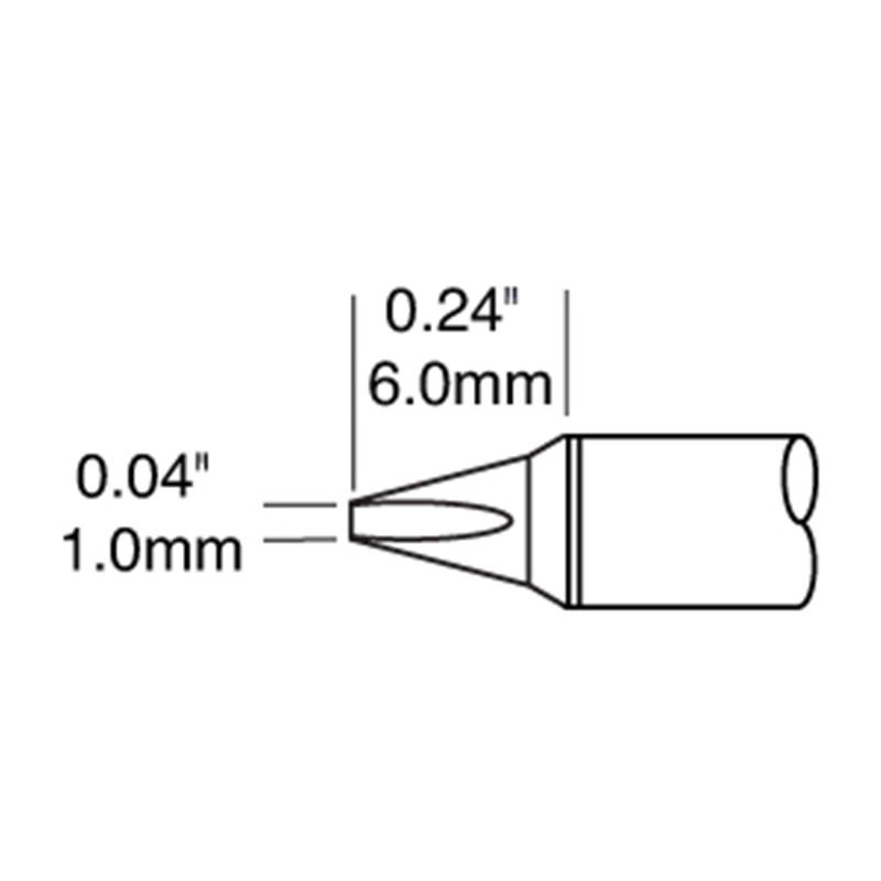 STTC-125P-コテ先 D型 1.0mm x 6.0mm パワーチップ 413℃