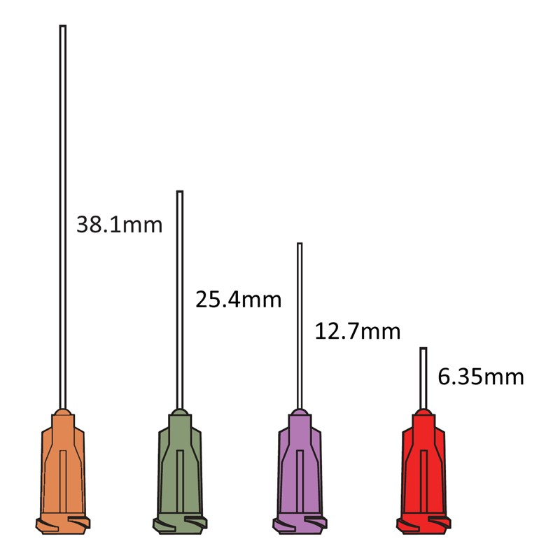 TE714100PK-TEニードル 14ゲージ 内径1.60mm 長さ25.4mm オリーブ 50本入
