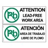 SIGN, ATTENTION, LEAD-FREE ZONE, 4 IN x 10 IN
