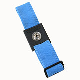 WRISTBAND, ADJ, CLOTH, SLIDE,  LT BLUE, BLACK CAP, 7MM STUD